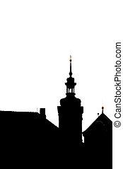 silhouette of prague church