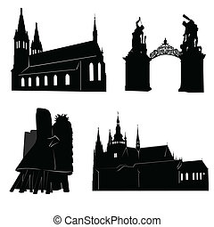 Silhouette of Prague - Silhouettes of famous buildings and...
