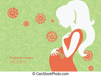 Silhouette of pregnant woman in summer