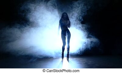 silhouette of pretty stripper on refined naked woman posing in the studio on a dark background. Slow motion. smoke