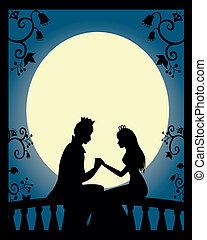 prince and princess - silhouette of prince and princess on a...