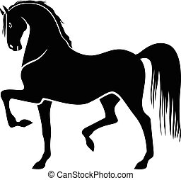 Vector illustrations of silhouette of proud horse galloping trot and beautiful arching neck