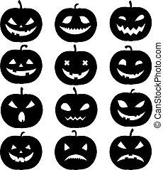 Silhouette Of Pumpkin Set