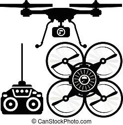Silhouette of quadcopter and remote control (joystick)