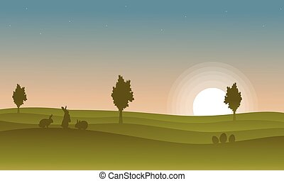 Silhouette of rabbit at the sunset