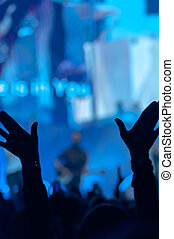 Silhouette of Raised Hands - Open hands raised up in...