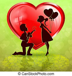 silhouette of red heart with boy and girl