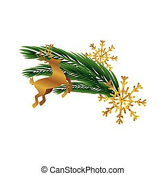 silhouette of reindeer christmas with tropical leafs and snowflakes