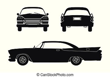 Silhouette of retro car. Vintage cabriolet. Front, side and...