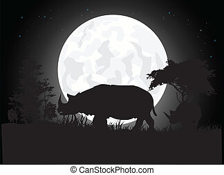 silhouette of rhino - vector illustration of Beautiful Rhino...
