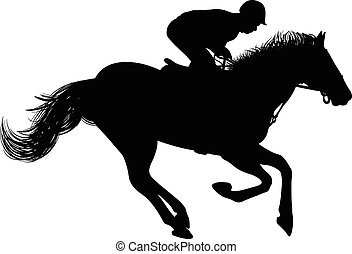 Silhouette of Rider on a horse - Drawing of the silhouette...