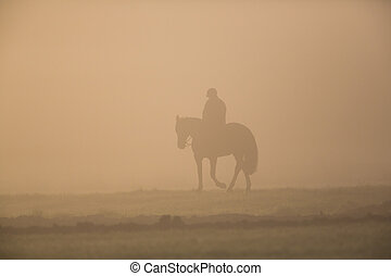 silhouette of rider with horse in the morning dust
