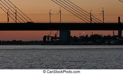 Silhouette of Riga cable-stayed bridge