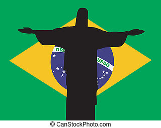 silhouette of Rio de Janeiro on Brazil flag background