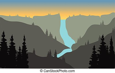 Silhouette of river from the top on mountain