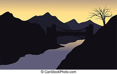 Silhouette of river with black background
