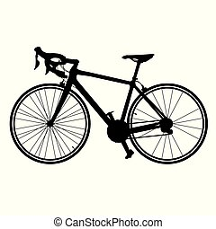Silhouette of road bike vector bicycle isolated on white background