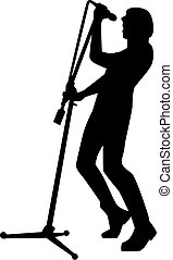 Silhouette of rock singer