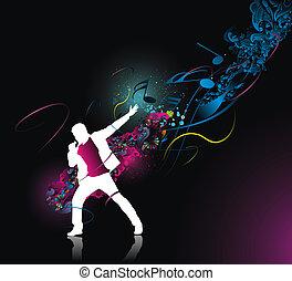 rock singer - silhouette of rock singer with color wave line...