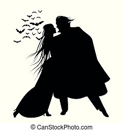 Silhouette of romantic and victorian couple dancing. Cloud of bats on the background. Isolated