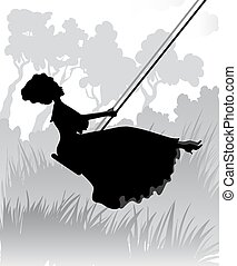 Silhouette of romantic girl on swing