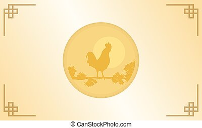 Silhouette of rooster for Chinese New Year