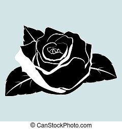 silhouette of rose flower with leaves