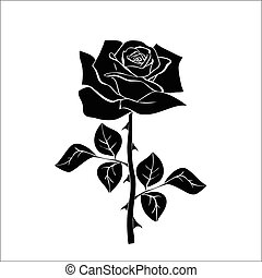 silhouette of rose isolated on white background. Vector ...