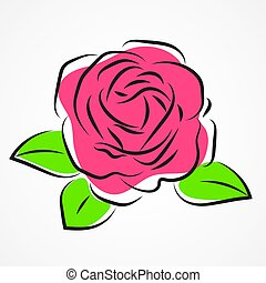Silhouette Of Roses On A Background. Floral
