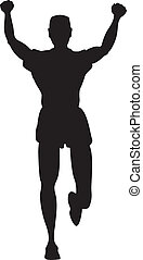 Silhouette of runner or jogger with hands up in the air as...