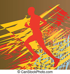 Silhouette of runner vector in front of colorful abstract lines