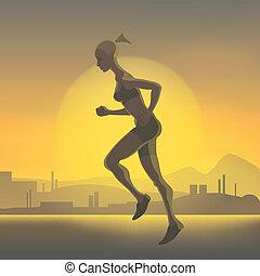 Silhouette of running girl