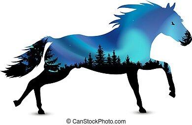 Silhouette of running horse