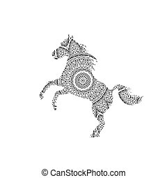 Silhouette of running horse.