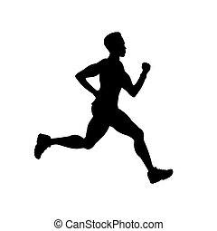 silhouette of running male, isolated on white background