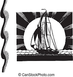 silhouette of sailboat, vector sign
