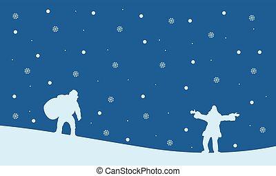 Silhouette of Santa Christmas landscape
