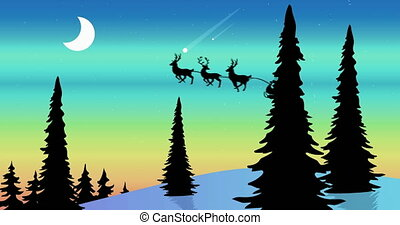 Animation of a black silhouette of Santa Claus in sleigh being pulled by reindeers with moon and fir trees in the background. Christmas festivity concept digitally generated image.
