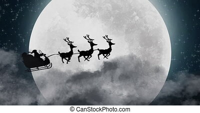 Animation of a black silhouette of Santa Claus in sleigh being pulled by reindeers with full moon in the background. Christmas festivity concept digitally generated image.