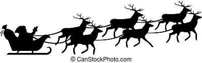 Santa Claus On Sledge - Silhouette Of Santa Claus On Sledge...