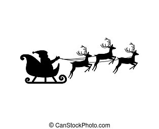 Silhouette Of Santa Claus On Sledge With Deer, Isolated On White Background, Vector Illustration esp