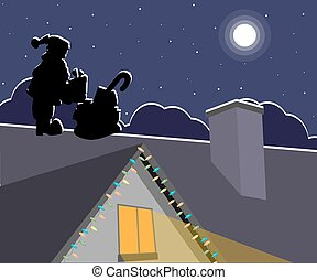 Silhouette of Santa Claus with presents on the roof at night