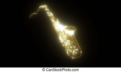 Silhouette of saxophone. Music instrument icon video...