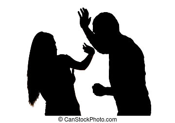 Silhouette of  scared woman protecting from male attack. Idea of  criminal offence