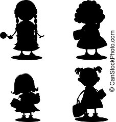 Silhouette of schoolgirl girl, on white background.