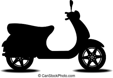 Silhouette of scooter on white background with shadow