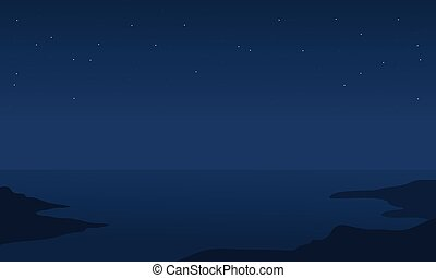 Silhouette of sea at the night