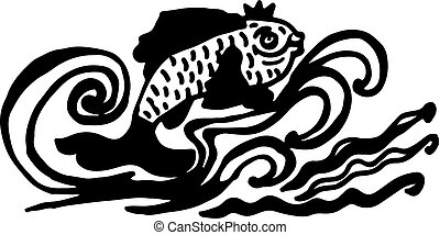 Silhouette of sea fish with crown on white background