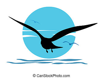 Silhouette of seagull on sea sunris