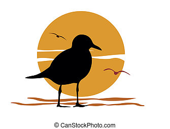 Silhouette of seagull on sea sunset, vector